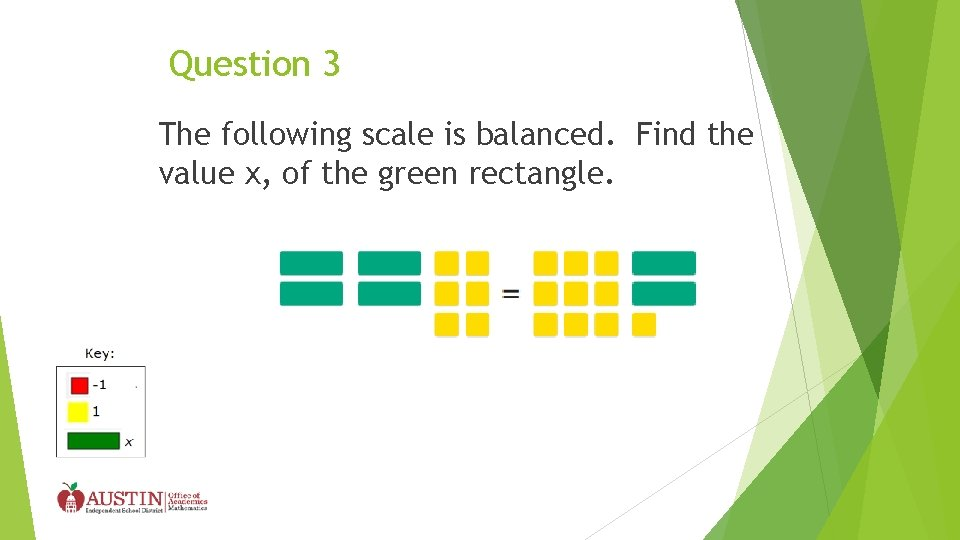 Question 3 The following scale is balanced. Find the value x, of the green