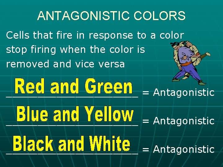 ANTAGONISTIC COLORS Cells that fire in response to a color stop firing when the