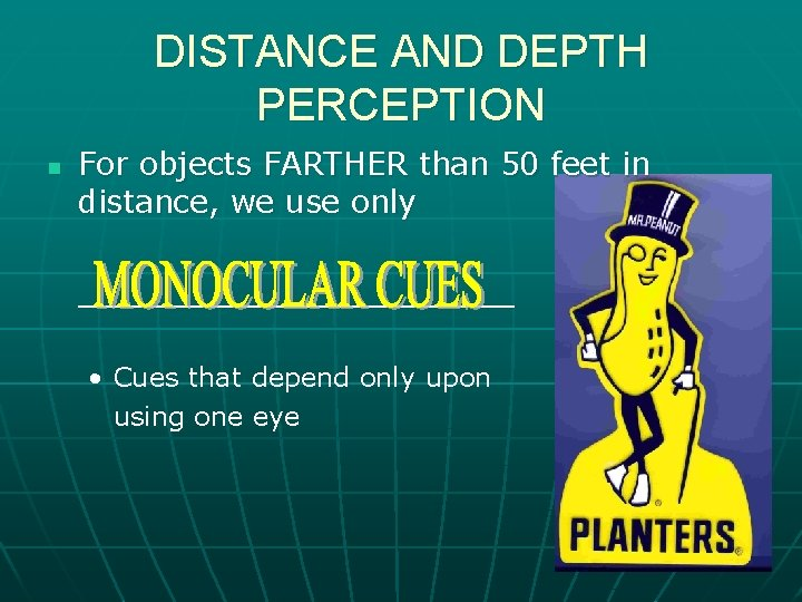 DISTANCE AND DEPTH PERCEPTION n For objects FARTHER than 50 feet in distance, we