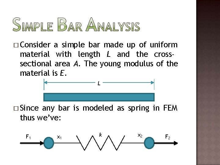� Consider a simple bar made up of uniform material with length L and