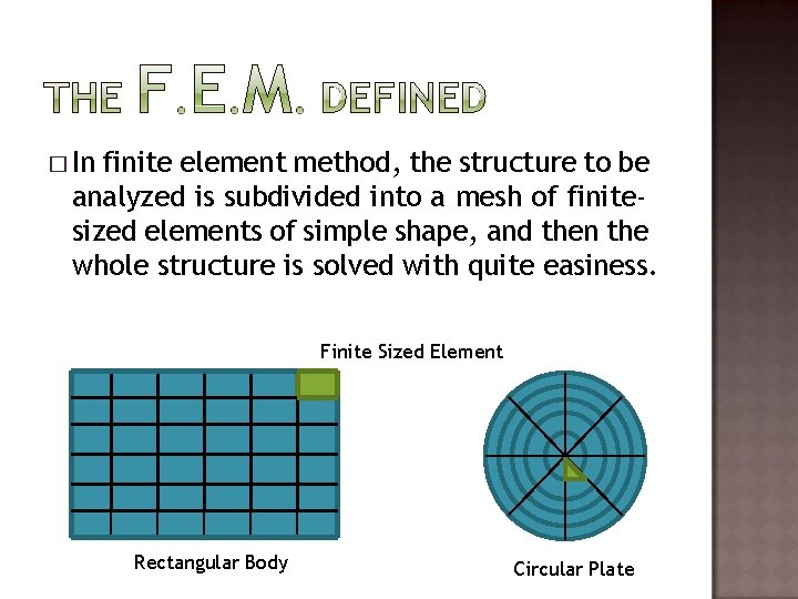 � In finite element method, the structure to be analyzed is subdivided into a
