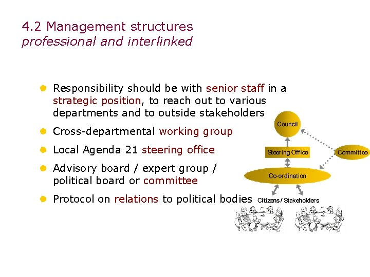 4. 2 Management structures professional and interlinked l Responsibility should be with senior staff