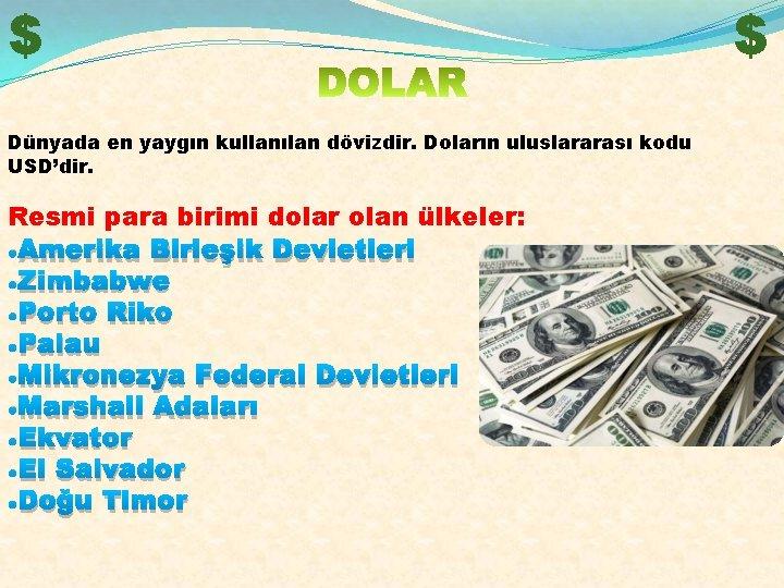 $ Dünyada en yaygın kullanılan dövizdir. Doların uluslararası kodu USD'dir. Resmi para birimi dolar