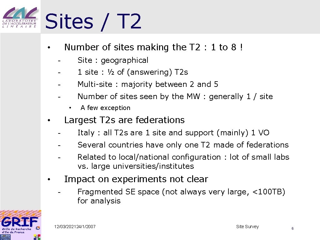 Sites / T 2 Number of sites making the T 2 : 1 to