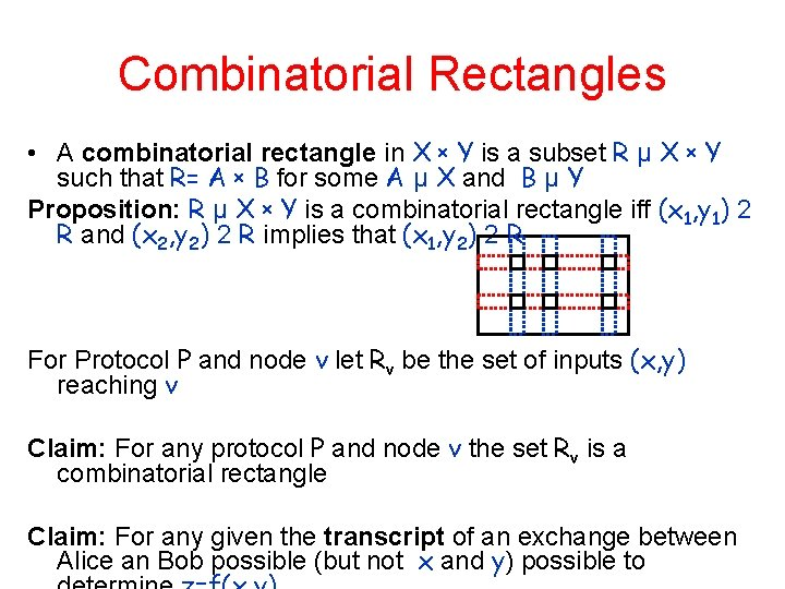 Combinatorial Rectangles • A combinatorial rectangle in X x Y is a subset R