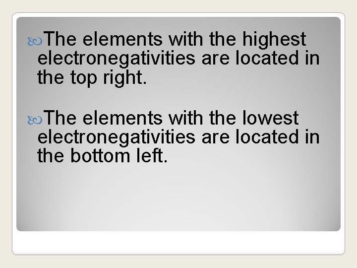 The elements with the highest electronegativities are located in the top right. The