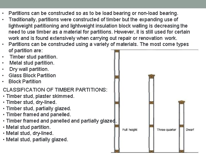 • Partitions can be constructed so as to be load bearing or non-load
