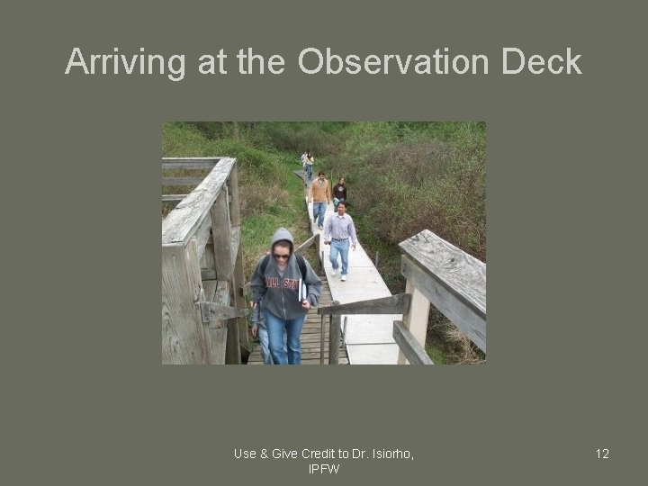 Arriving at the Observation Deck Use & Give Credit to Dr. Isiorho, IPFW 12