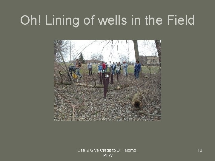 Oh! Lining of wells in the Field Use & Give Credit to Dr. Isiorho,