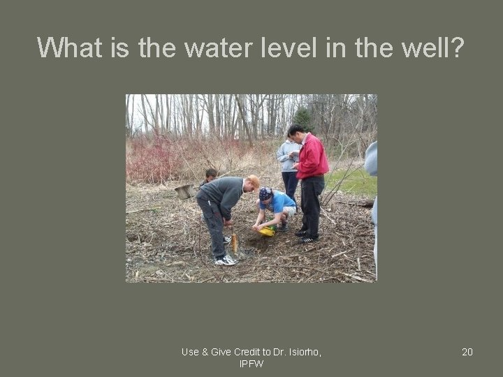 What is the water level in the well? Use & Give Credit to Dr.