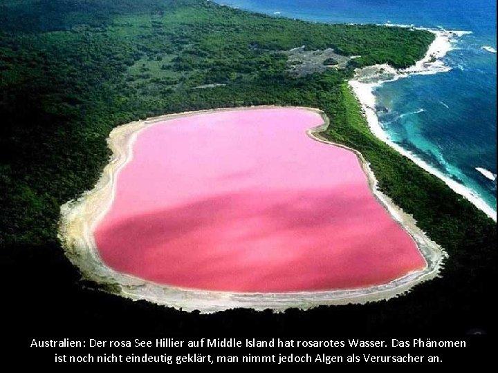 Australien: Der rosa See Hillier auf Middle Island hat rosarotes Wasser. Das Phänomen ist