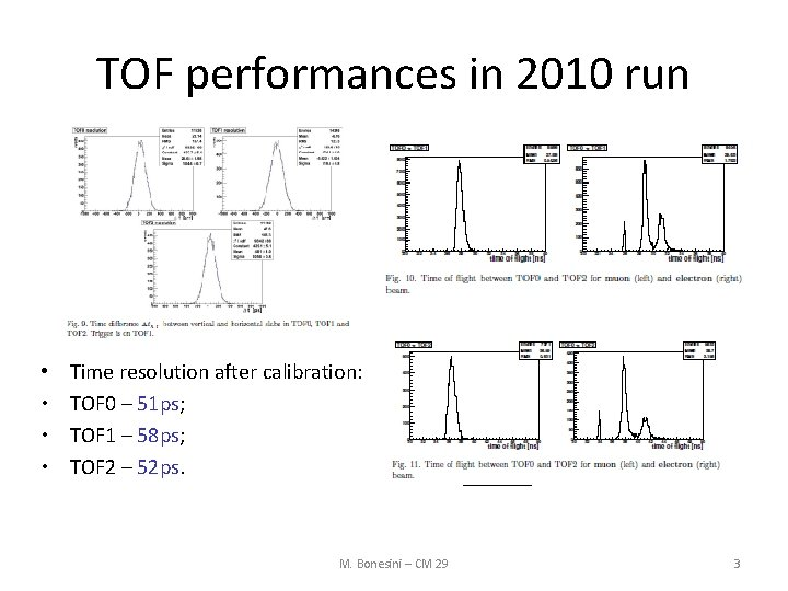 TOF performances in 2010 run • • Time resolution after calibration: TOF 0 –