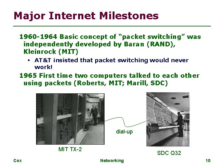 """Major Internet Milestones 1960 -1964 Basic concept of """"packet switching"""" was independently developed by"""