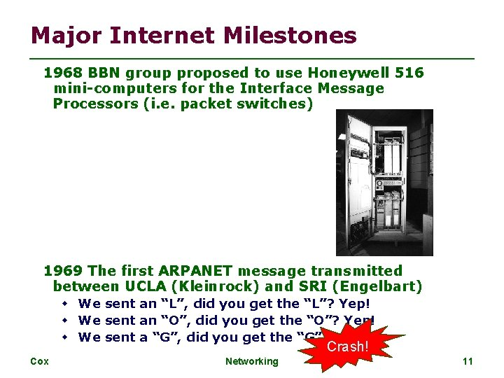 Major Internet Milestones 1968 BBN group proposed to use Honeywell 516 mini-computers for the