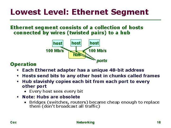 Lowest Level: Ethernet Segment Ethernet segment consists of a collection of hosts connected by