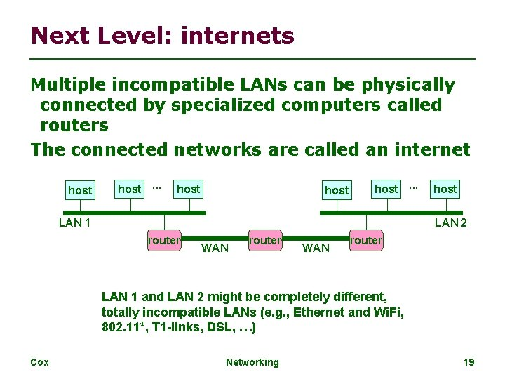Next Level: internets Multiple incompatible LANs can be physically connected by specialized computers called