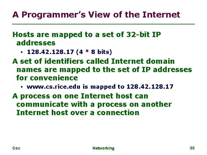 A Programmer's View of the Internet Hosts are mapped to a set of 32