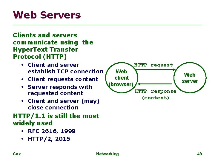 Web Servers Clients and servers communicate using the Hyper. Text Transfer Protocol (HTTP) Client