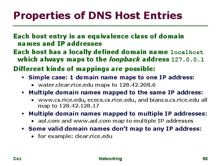 Properties of DNS Host Entries Each host entry is an equivalence class of domain