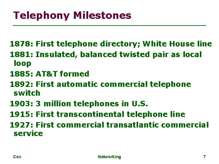Telephony Milestones 1878: First telephone directory; White House line 1881: Insulated, balanced twisted pair