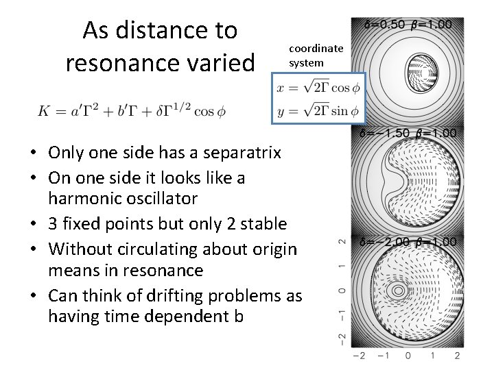 As distance to resonance varied coordinate system • Only one side has a separatrix