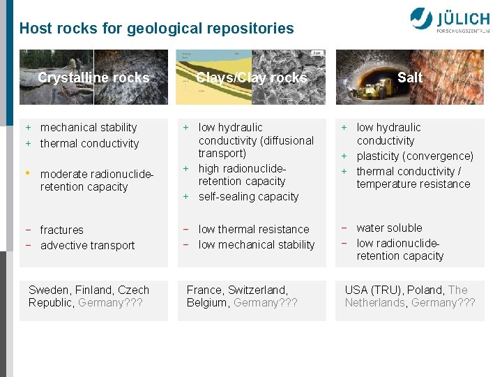 Host rocks for geological repositories Crystalline rocks + mechanical stability + thermal conductivity •