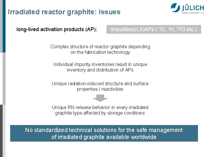 Irradiated reactor graphite: issues long-lived activation products (AP): impurities(n, X)APs (14 C, 3 H,