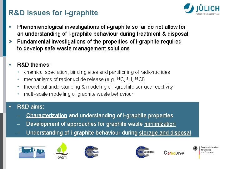 R&D issues for i-graphite § Phenomenological investigations of i-graphite so far do not allow