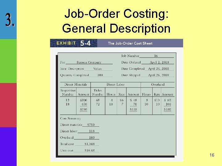 Job-Order Costing: General Description 16