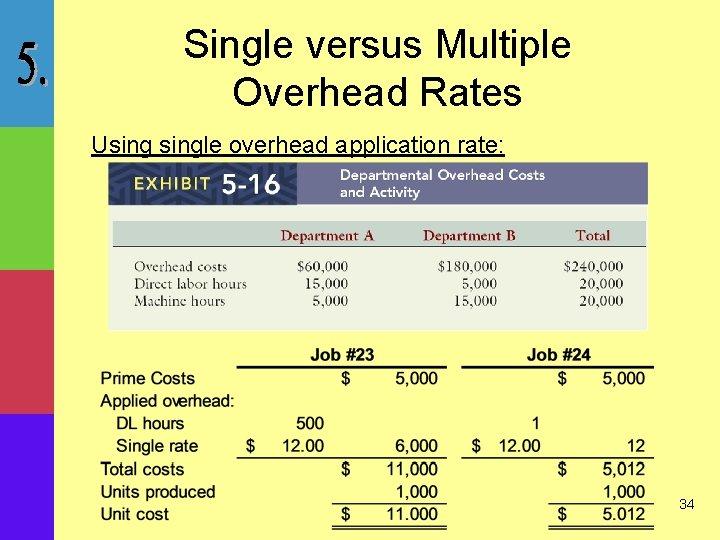 Single versus Multiple Overhead Rates Usingle overhead application rate: 34