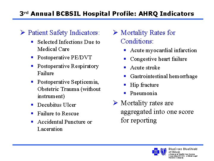 3 rd Annual BCBSIL Hospital Profile: AHRQ Indicators Ø Patient Safety Indicators: § Selected