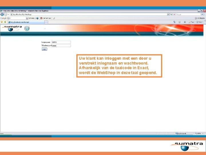 Uw klant kan inloggen met een door u verstrekt inlognaam en wachtwoord. Afhankelijk van