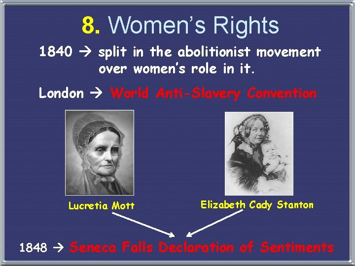 8. Women's Rights 1840 split in the abolitionist movement over women's role in it.