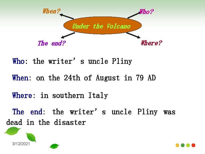 When? Who? Under the Volcano The end? Where? Who: the writer's uncle Pliny When: