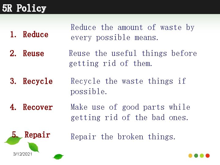 5 R Policy 1. Reduce the amount of waste by every possible means. 2.