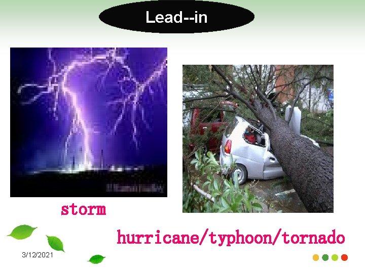 Lead--in storm hurricane/typhoon/tornado 3/12/2021