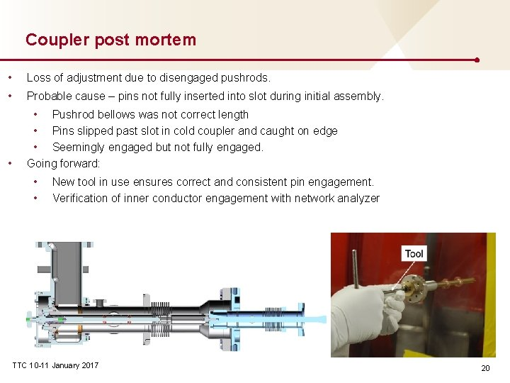 Coupler post mortem • Loss of adjustment due to disengaged pushrods. • Probable cause