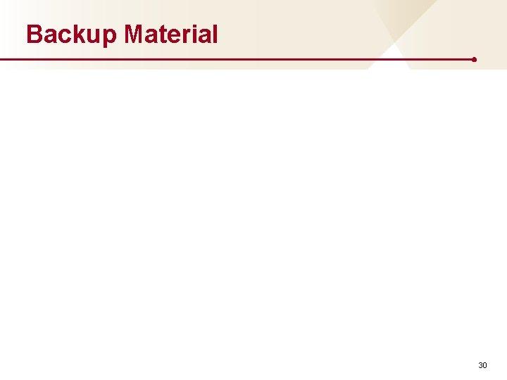 Backup Material 30