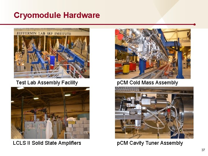 Cryomodule Hardware Test Lab Assembly Facility LCLS II Solid State Amplifiers p. CM Cold