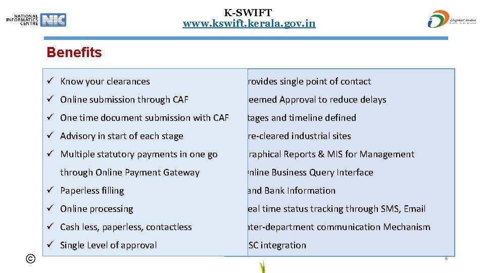K-SWIFT www. kswift. kerala. gov. in Benefits ü Know your clearances ü Provides single