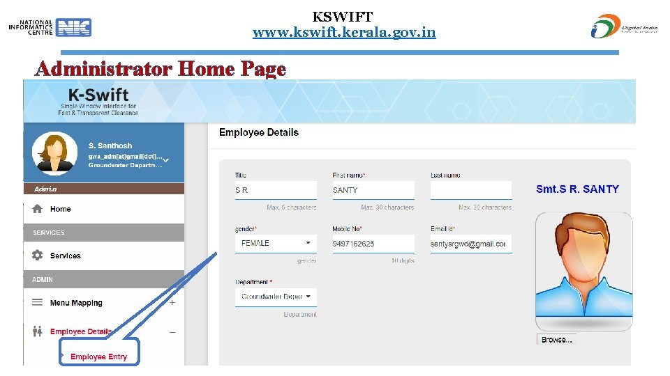 KSWIFT www. kswift. kerala. gov. in Administrator Home Page 56