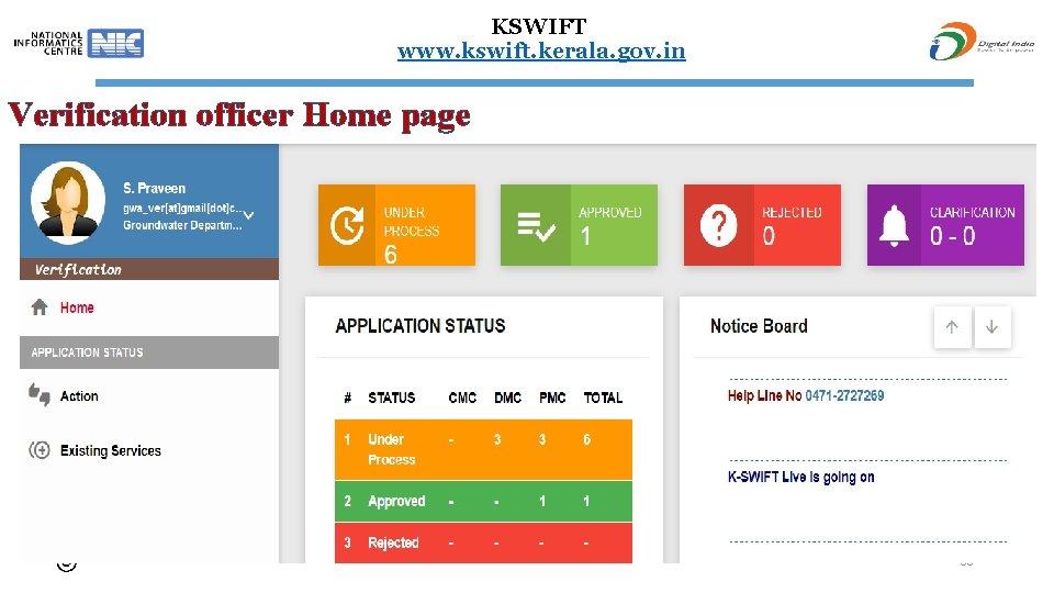 KSWIFT www. kswift. kerala. gov. in Verification officer Home page 60