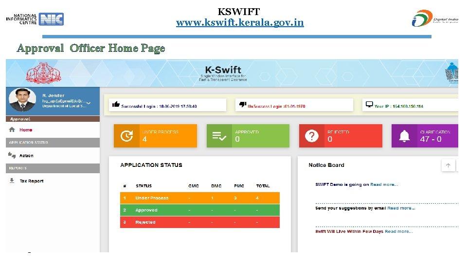 KSWIFT www. kswift. kerala. gov. in Approval Officer Home Page 71