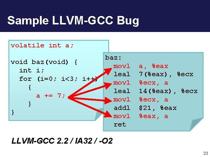 Sample LLVM-GCC Bug volatile int a; baz: void baz(void) { movl int i; leal