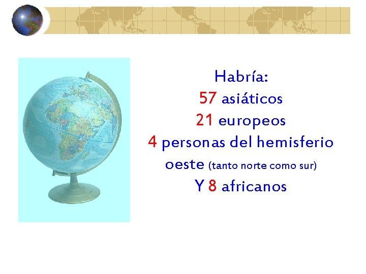 Habría: 57 asiáticos 21 europeos 4 personas del hemisferio oeste (tanto norte como sur)