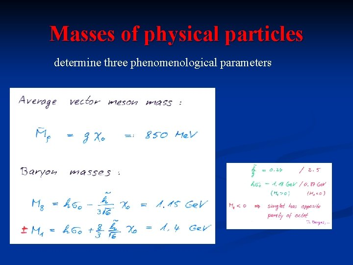 Masses of physical particles determine three phenomenological parameters