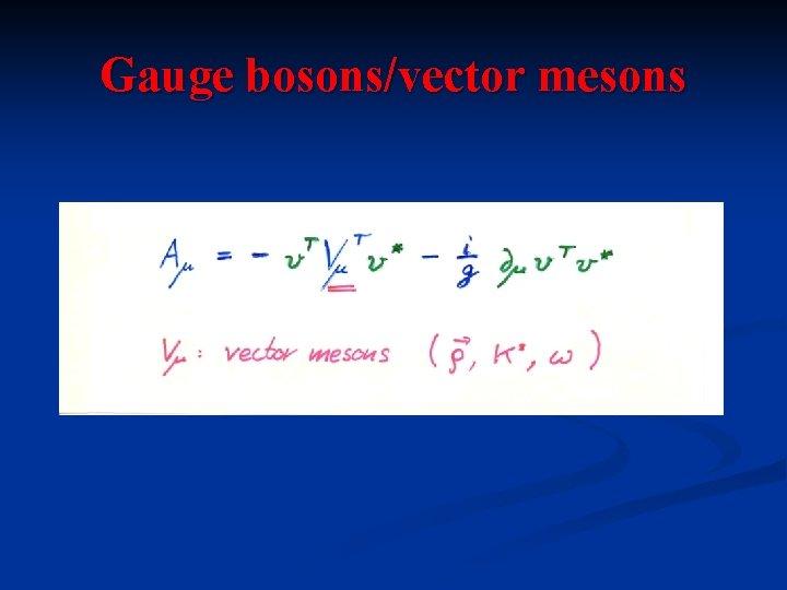 Gauge bosons/vector mesons