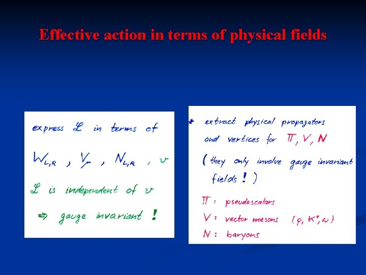 Effective action in terms of physical fields