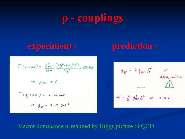 ρ - couplings experiment : prediction : Vector dominance is realized by Higgs picture
