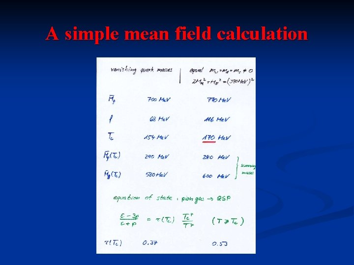 A simple mean field calculation